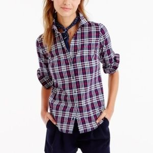 J. Crew Perfect Shirt In Tartan Check (Q13)